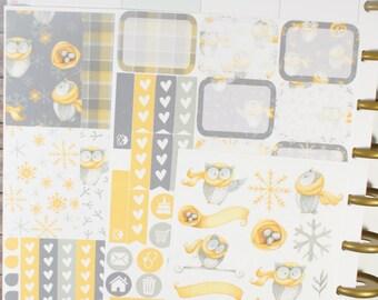 Owl About Winter-Happy (MAMBI) Planner Sampler Kit (NF364) High Gloss, Semi-Gloss, Matte Planner Stickers