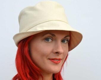 Cream sun hat, foldable hat, travel hat, brimmed summer hat, fedora, cream cotton sunhat, cotton hat, summer fashion, beach wear