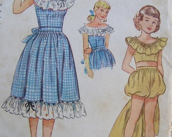 Country Cutie, 1948 Simplicity 2450 Dress & Playsuit Sewing Pattern, Size 10, Bust  28, Uncut