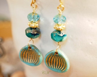 Opaque Turquoise Earrings Czech Beaded Earrings Gold Vermeil Earrings Elegant Vermeil Pierced Earrings OOAK Handmade Earrings CKDesignsUS