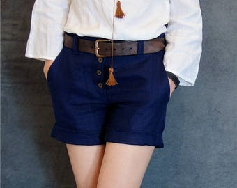 Navy Blue Linen Short Pants, Sustainable fashion, Ethical closet, Slow fashion