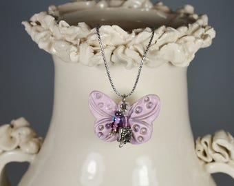 Butterfly Necklace - Pink Lavender Pendant with Crystals