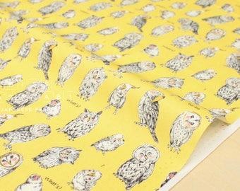 Japanese Fabric Kokka Owls - yellow - fat quarter