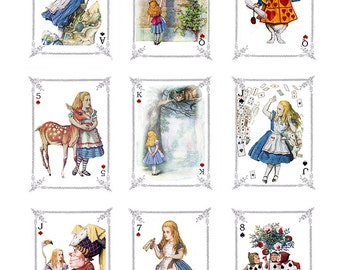 Fabric Panels x 9; Alice in Wonderland, Vintage, Quilting, 100% cotton, Applique, Craft