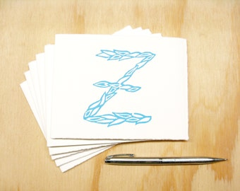 Letter Z Stationery - Personalized Gift - Set of 6 Block Printed Cards