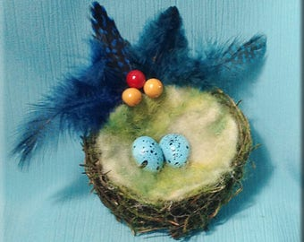 Decorative Moss Flocked Bird Nest with Song Thrush Eggs - 3 inches