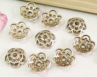 Silver Bead Caps -50pcs Antique Silver Flower End Cap Charms 10mm AA508-1