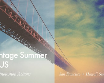 Vintage Summer in US - 12 Photoshop Actions INSTANT DOWNLOAD