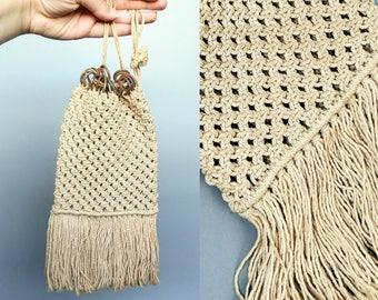 brandy / 1910s antique hand crocheted drawstring purse / edwardian era sailor sweetheart bag