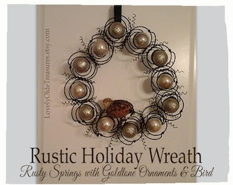 Handmade Bird Nest Wreath- Year Round Door Decor- Metal Wreath- Rustic Year Round Gold Wreath Home Decor- Bed Spring- Farmhouse Decor