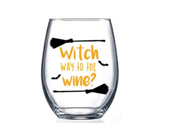 Stemless Wine Glasses / Halloween / Holiday Personalized Wine Glasses / gifts / Home & Living / Holiday Glasses / Halloween Cup