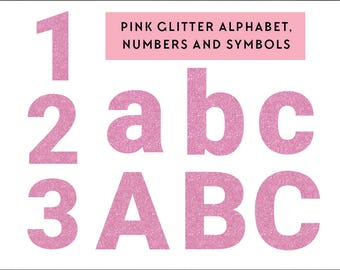 pink glitter alphabet clip art graphics, digital alphabet clipart, numbers, glitter, commercial use, alphabet clip art instant download