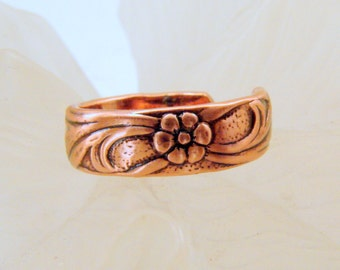 Copper Pattern Toe Ring, Copper Flower and Leaves Toe Ring, Toe Ring