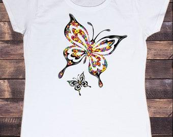 Women's White T-Shirt With Smarties Butterflies Print TS1290