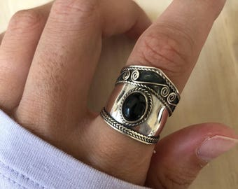 Sterling Silver Black Onyx Ring. Size 6.5