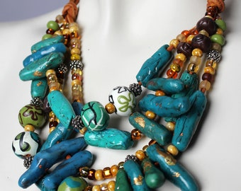 Chunky Turquoise Statement Necklace / Coral and Teal Printed Beads / Multistrand Blue and Gold Jewelry / Big Bold Bib Necklace / Sea Green