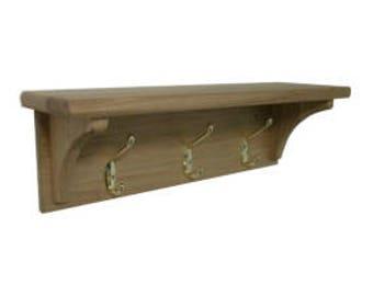 Solid oak hat & coat hook with shelf- 3 hook