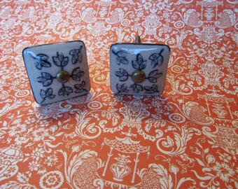 2 Floral Ceramic Square Knobs with Hand Painted Navy Floral Leaf Patterns on Ivory Drawer or Cabinet Knobs or Pulls Ready to Ship B-17