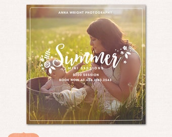Mini Session Photography Marketing board Instagram - Summer Minis MSU004 - Photoshop template INSTANT DOWNLOAD