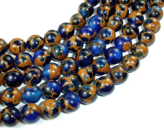 Mosaic Stone Beads, Blue, 8mm Round Beads, 15.5 Inch, Full strand, Approx 48 beads, Hole 1 mm (327054005)