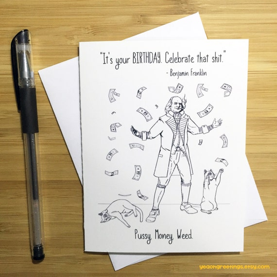 Funny benjamin franklin happy birthday card weed card weed like this item bookmarktalkfo Image collections