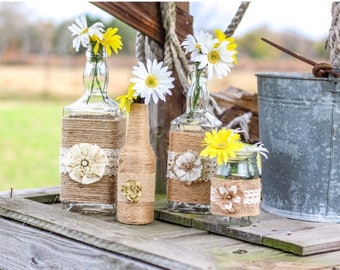Rustic glass centerpieces (set of 4)