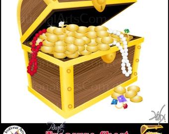 Pirate Treasure Chest Digital Clipart Graphics - 12 files - treasure, diamond, emerald, ruby, coins, pearl, etc {Instant Download}