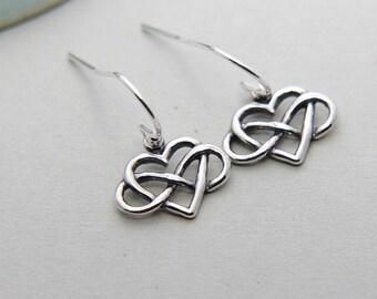 Infinity Earrings, Heart Infinity Earrings, Sterling Silver Infinity Earrings, Infinity Love Earrings, Friendship Jewelry, Gift for Mother