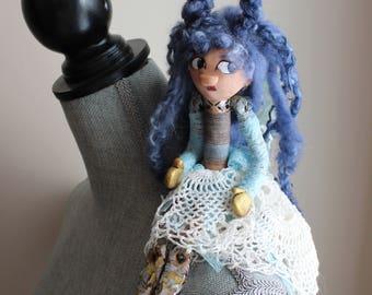 Art Doll Pyrite - Mineral Gem Spirit, Dark skin tone doll, blue hair, foil and glitter troublesome girl.