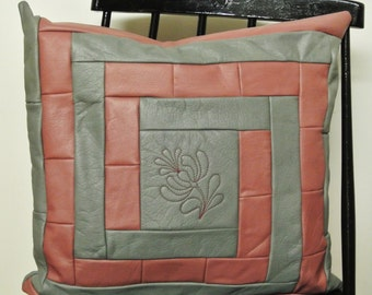 Unusual one-of-a-kind new/unused pillow of highquality pink/ light grey skin/leather in log cabin pattern+flower decor,alike at both sides