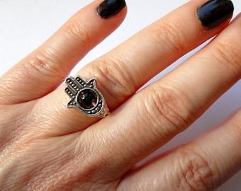 Hamsa ring, Silver hamsa onyx ring, Hamsa jewelry, Hand of Fatima ring, Hamsa hand ring