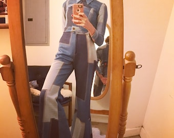 Sold in Store. Do not buy. Vintage 70s 2 piece coordinate patchwork denim knit flared pant suit