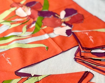 Jim Thompson Set of 8 Bright and Colorful Flower Pattern Linen Napkins.