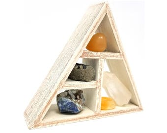 INSPIRING CREATIVITY Crystal Healing Kit / Energy Stones and Crystal Display Shelf set in Gift Box / Quartz Point throat chakra - 34
