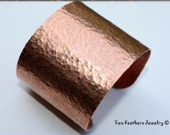 Copper Cuff Bracelet - 7th Anniversary Gift - Extra Wide Cuff Bracelet - Solid Copper - Hammered Copper Jewelry - Statement Jewelry
