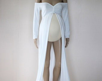 Long Sleeve Off Shoulder Jersey Maternity Gown - Off White