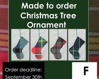 Mini tartan stocking, Christmas ornament, F Names, Farquharson, Ferguson, Fletcher, Flower of Scotland, Forbes, Forsyth, Fraser