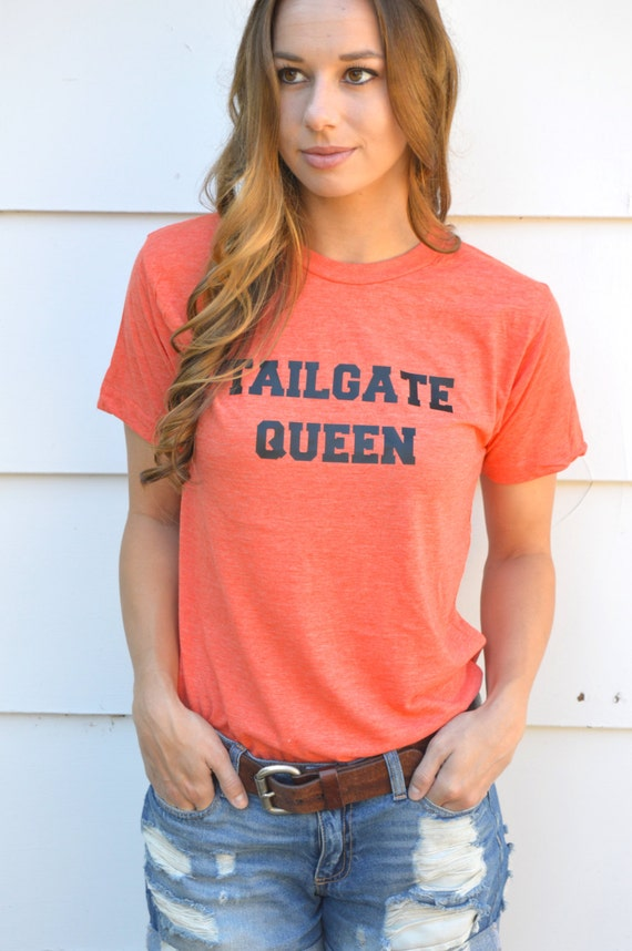 Tailgate Queen Football and Basketball Tee Shirt: Heather Orange