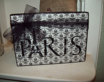 Black And White PARIS Sign Paris Decor,shabby Chic,Paris Bedroom Decor ,FRENCH