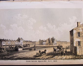 1864 New York City Lithograph: Chatham Square in 1812. Manhattan. Antique Original Print, NYC Chinatown