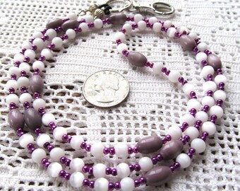 Badge or Eyeglass Lanyard in Glass Cats Eye and Metallic Round Beads