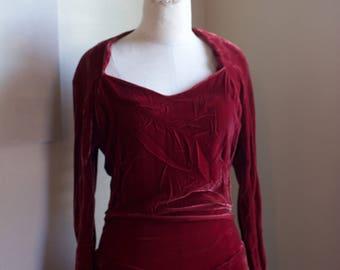 Vintage 1930s Burgundy Velvet Dress