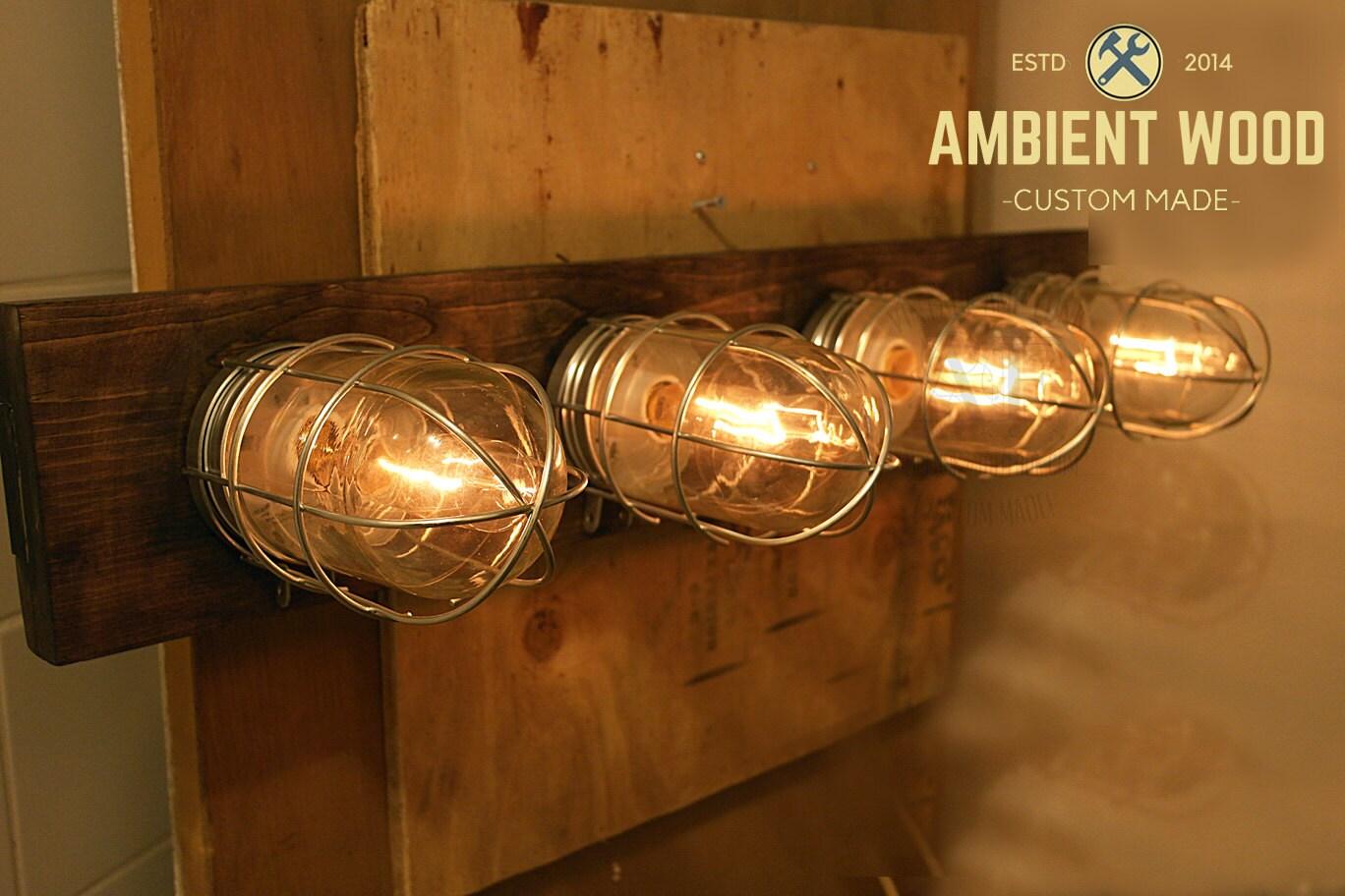 Nickel industrial cage glass bathroom vanity bar light fixture aloadofball Image collections