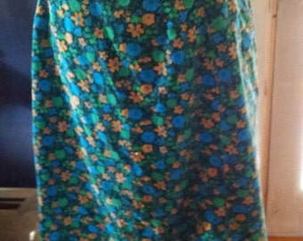 Vintage Velvet Skirt with Blue, Green, and Yellow Flowers!