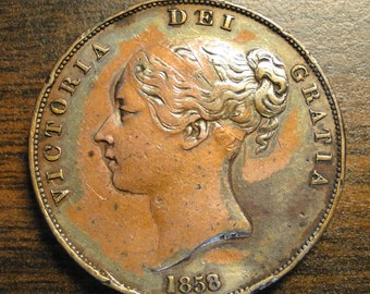 1858/3 Great Britain Penny - Overdate - Very Nice!