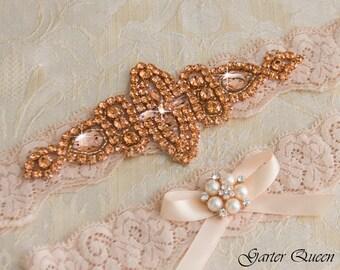 Rose Gold Wedding Garter Set, Bridal Garter Set, Blush Lace Wedding Garter, Crystal Garter Set, Ivory Lace Garter Set
