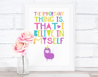 "A4 Fine Art print ""self-confidence"" colorful mural with a sweet purple sheep in unicorn design"