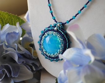 Ocean Waters Glass Bead Embroidery Statement Necklace in Blue
