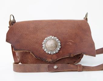 BELLA Handmade, Weathered Leather Crossbody Handbag + Concho Accent-  Custom Native Boho Festival Cowgirl Rodeo Gypsy Country Western US