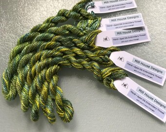 Hand-dyed Silk Embroidery Threads with short colour changes